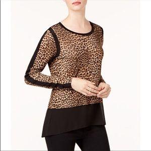 Michael Kors mixed media leopard print top